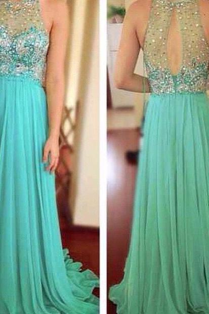 Prom dress,Charming Prom Dress,O-Neck Prom Dress,A-Line Prom Dress,Beading Prom Dress,Chiffon Prom Dress
