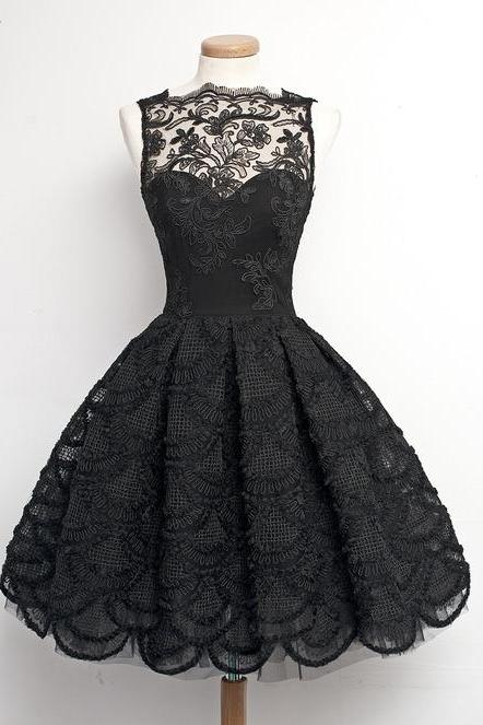 Prom dress,Custom Made A Line Black Lace Prom Dresses, Homecoming Dresses, Cocktail Dresses