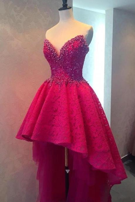 Sexy High Low Long Prom Dresses, Beaded Lace Prom Dresses, Sweetheart Prom Dresses, Fuchsia Backless Women Formal Party Dresses, Custom Made Prom Dress